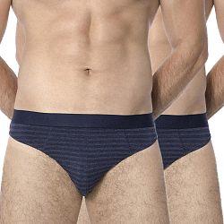 2 pack pánskych slipov ROSSLI Stripes Blue